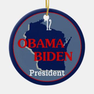 Obama Biden WISCONSIN Double-Sided Ceramic Round Christmas Ornament