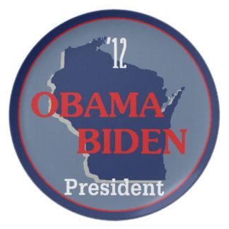 Obama Biden WISCONSIN Plato De Comida