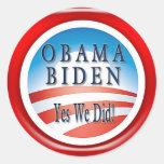 "OBAMA BIDEN ""YES WE DID"" STICKERS"