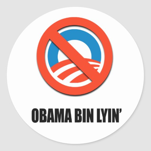 Obama bin lyin' classic round sticker