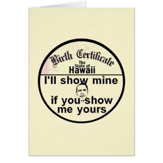 Obama BIRTH CERTIFICATE Card