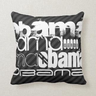 Obama; Black & Dark Gray Stripes Throw Pillows