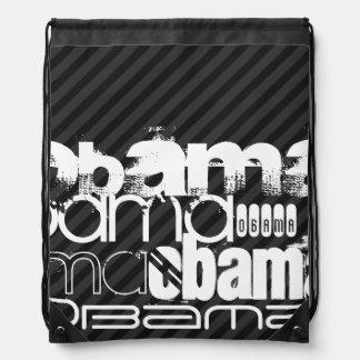 Obama; Black & Dark Gray Stripes Cinch Bags