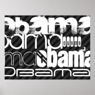 Obama; Black & Dark Gray Stripes Poster