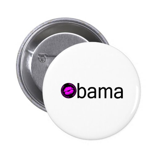 Obama-Blk Kiss) Pinback Button
