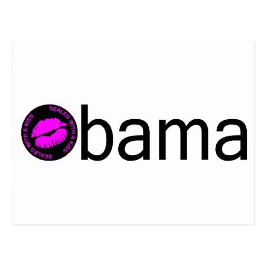 Obama-Blk Kiss) Postcard