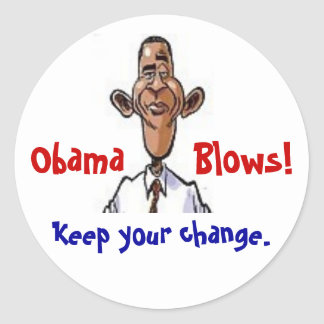 Obama Blows! Classic Round Sticker