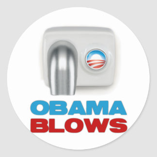Obama Blows Classic Round Sticker