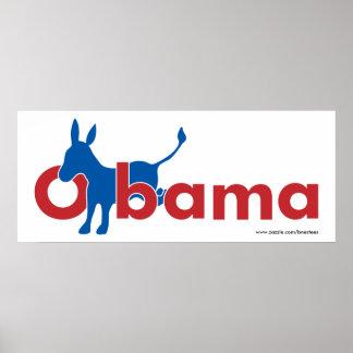 Obama Blue Donkey - white outline Poster