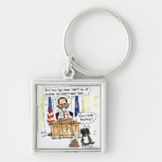 Obama & Bo Satirical Cartoon Gifts Tees & Cards Keychain