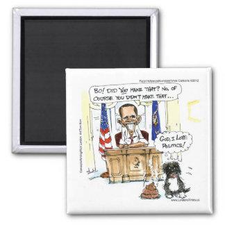 Obama & Bo Satirical Cartoon Gifts Tees & Cards Magnet