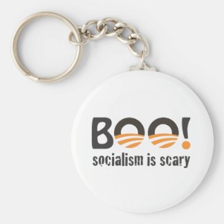 Obama Boo! socialism is scary Basic Round Button Keychain
