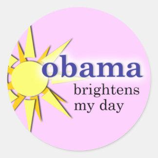 Obama brightens my day - pink classic round sticker