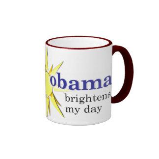 Obama brightens my day - with java ringer coffee mug