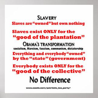 Obama bringing slavery back poster