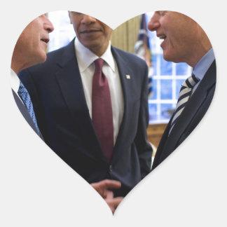 Obama Bush and Clinton Heart Sticker