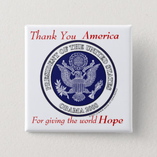 Obama button.Thank You For Hope Button
