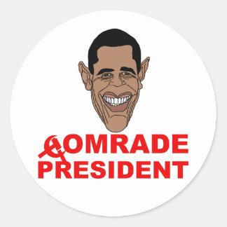 Obama: Camarada presidente Pegatina Redonda