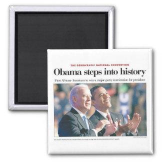 Obama camina en el imán de la historia
