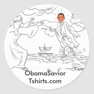Obama camina en el pegatina del agua