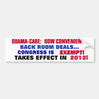 OBAMA-CARE: HOW CONVENIENT!! CAR BUMPER STICKER
