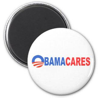 Obama cares 2 inch round magnet