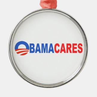 Obama Cares Round Metal Christmas Ornament