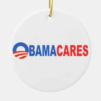 Obama cares Double-Sided ceramic round christmas ornament