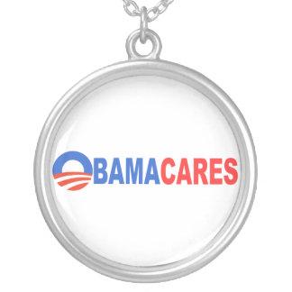 Obama Cares Round Pendant Necklace