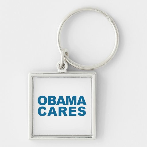 Obama Cares Silver-Colored Square Keychain
