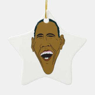 Obama Caricature Ceramic Ornament