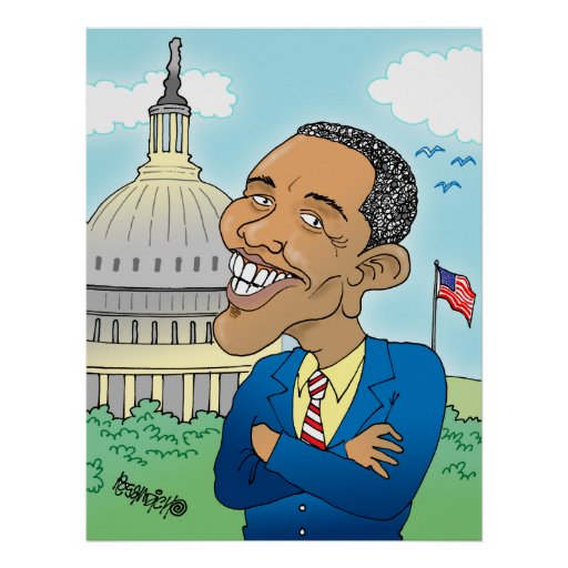 OBAMA CARTOON CARICATURE PRINTS POSTER