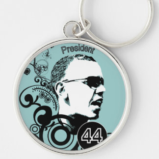 Obama Change BackGround Color Silver-Colored Round Keychain