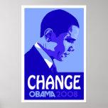 Obama - Change Blue Poster