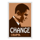 Obama - Change Dark Brown Poster