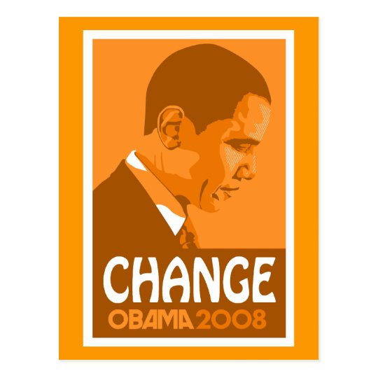 Obama - Change Dark Orange Postcard