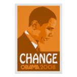 Obama - Change Dark Orange Poster