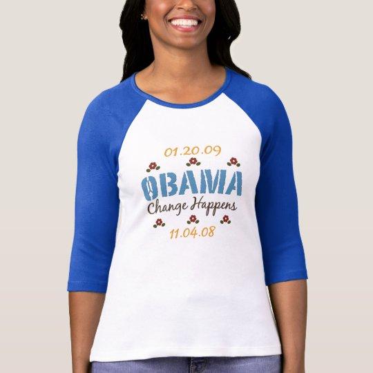 Obama Change Happens Raglan Tee Shirt