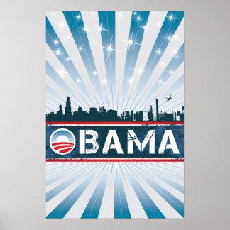 Obama Chicago Skyline Poster