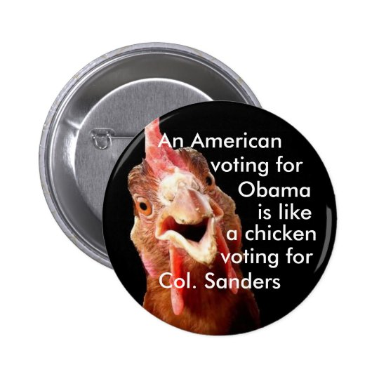 Obama Chicken Colonel Sanders Button