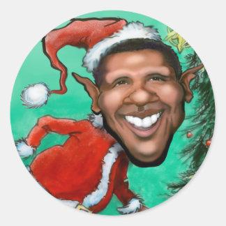 Obama Christmas Classic Round Sticker