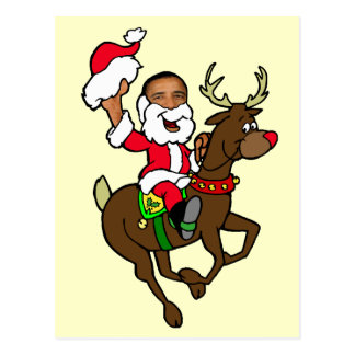 Obama Christmas Reindeer Santa Claus gifts Postcard