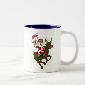 Obama Christmas Reindeer Santa Claus gifts Two-Tone Coffee Mug