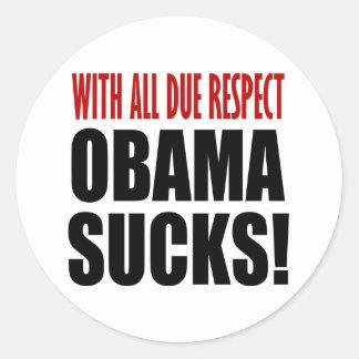 Obama chupa pegatina redonda
