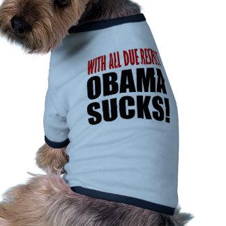Obama chupa camiseta con mangas para perro