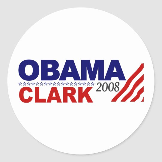 Obama Clark 2008 Classic Round Sticker