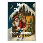 Obama Claus, Barack Obama divertido Papá Noel Tarjeta De Felicitación