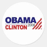 Obama Clinton 2008 Etiqueta Redonda