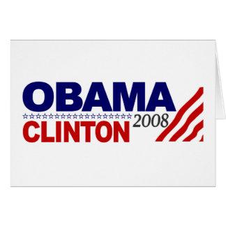 Obama Clinton 2008 Tarjeton