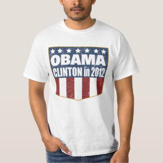 Obama Clinton 2012 shield faded T-Shirt